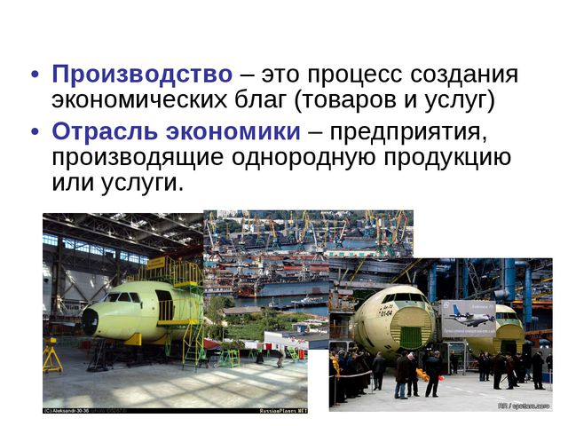 Производство – это процесс создания экономических благ (товаров и услуг) Отра...