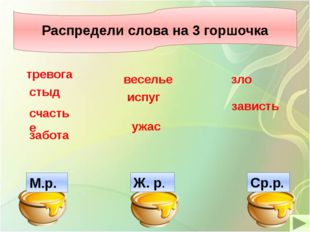 Распредели слова на 3 горшочка Распредели слова на 3 горшочка М.р. Ж. р. Ср.р