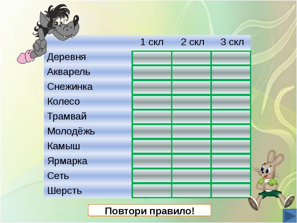 Повтори правило! 1скл 2скл 3скл Деревня + Акварель + Снежинка + Колесо + Тра...