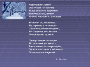 Чародейкою Зимою Околдован, лес стоит - И под снежной бахромою, Неподвижною,