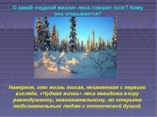 О какой «чудной жизни» леса говорит поэт? Кому она открывается? Наверное, это