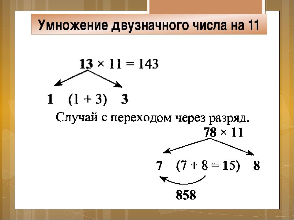 Умножение двузначного числа на 11