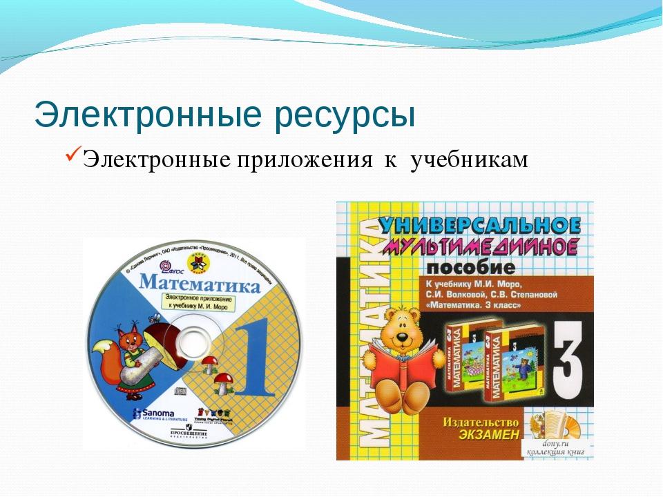 Электронные ресурсы Электронные приложения к учебникам
