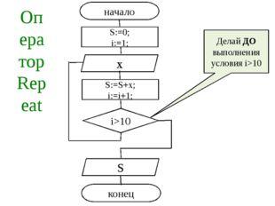 Оператор Repeat Делай ДО выполнения условия i>10 начало i>10 x S конец S:=0;