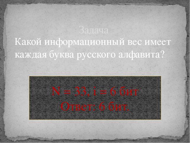 Какой информационный вес имеет каждая буква русского алфавита? Задача N = 33,...