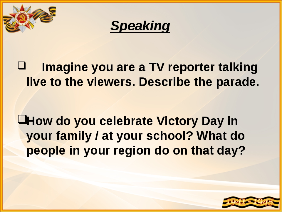 Speaking Imagine you are a TV reporter talking live to the viewers. Describe...