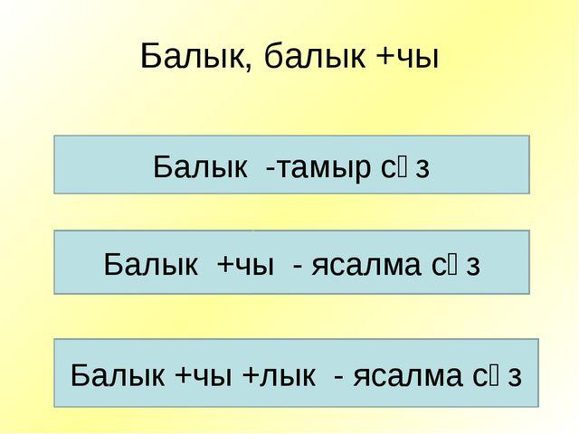 Балык, балык +чы Балык -тамыр сүз Балык +чы - ясалма сүз Балык +чы +лык - яса...