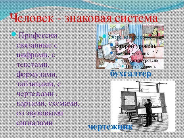 Человек - знаковая система Профессии связанные с цифрами, с текстами, формула...