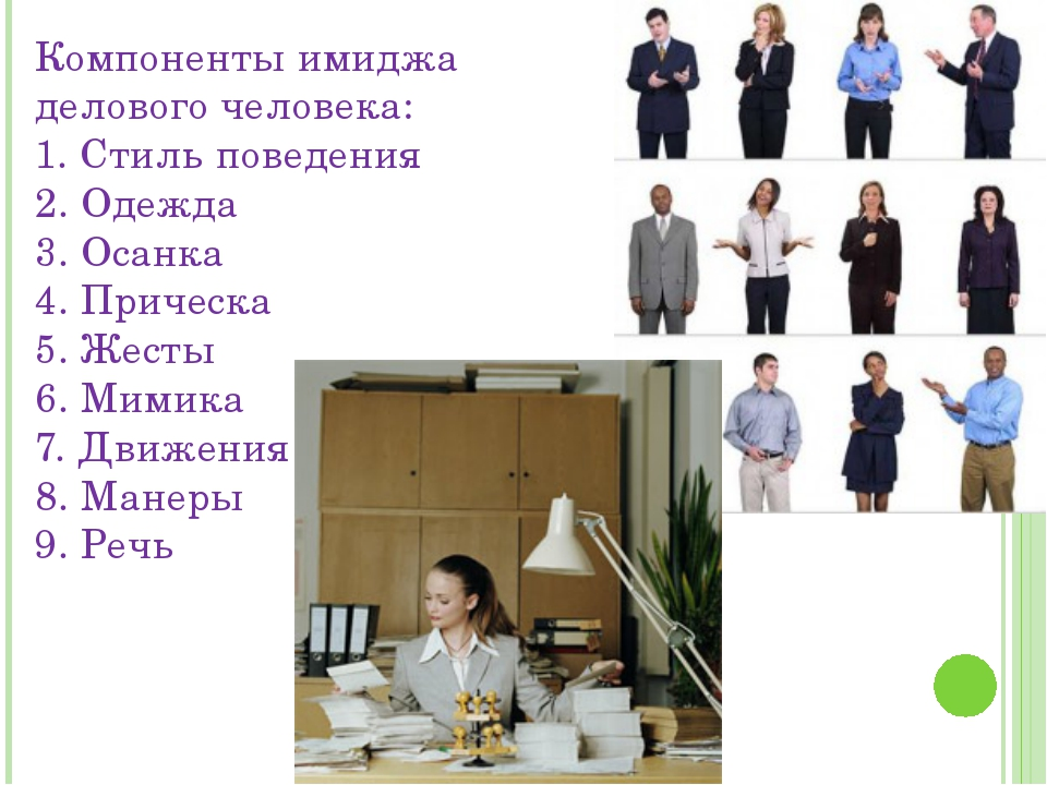 Компоненты имиджа делового человека: 1. Стиль поведения 2. Одежда 3. Осанка 4...