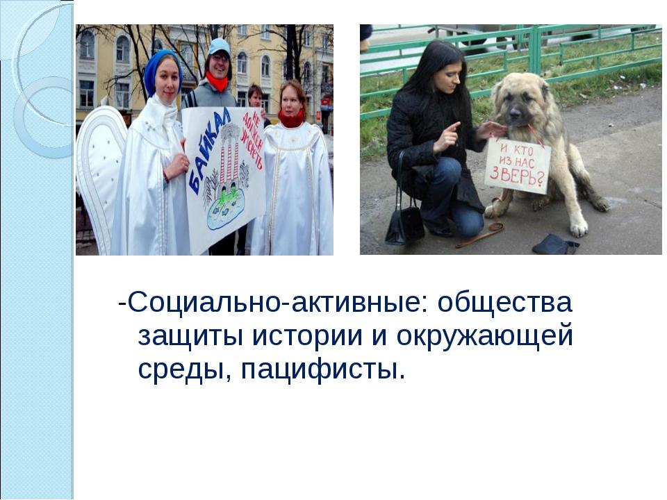 -Социально-активные: общества защиты истории и окружающей среды, пацифисты.