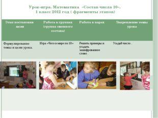 Урок-игра. Математика «Состав числа 10». 1 класс 2012 год ( фрагменты этапов)