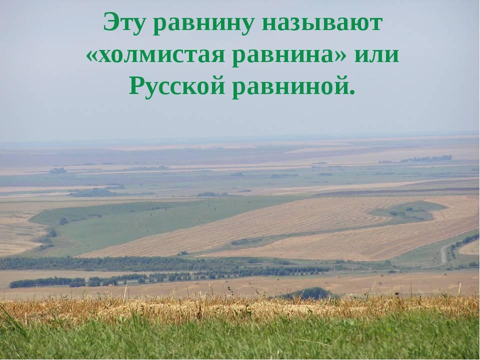 Эту равнину называют «холмистая равнина» или Русской равниной.