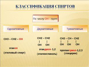 СН3 – СН2 – OH этанол (этиловый спирт) СН2 – СН2 | | ОН ОН этандиол- 1,2 (эт