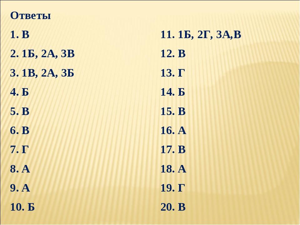 Ответы 1. В11. 1Б, 2Г, 3А,В 2. 1Б, 2А, 3В12. В 3. 1В, 2А, 3Б13. Г 4. Б14...
