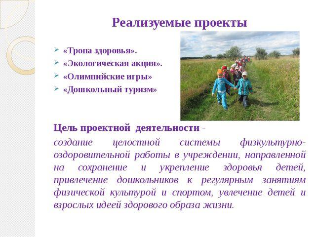 Реализуемые проекты «Тропа здоровья». «Экологическая акция». «Олимпийские игр...