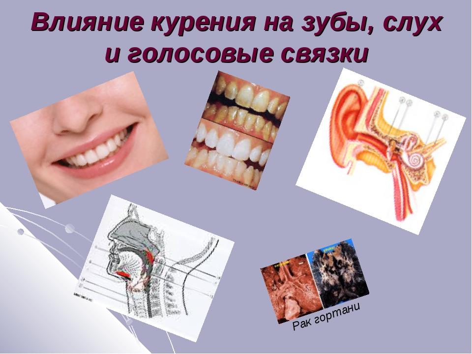 Влияние курения на зубы, слух и голосовые связки