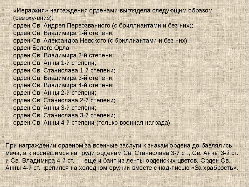 «Иерархия» награждения орденами выглядела следующим образом (сверху-вниз): ор...