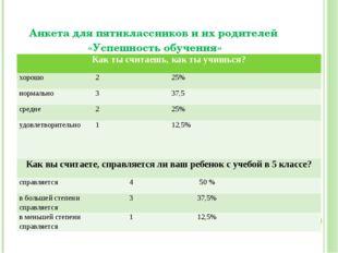 Анкета для пятиклассников и их родителей «Успешность обучения» Как ты считаеш