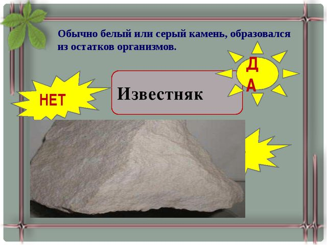 Обычно белый или серый камень, образовался из остатков организмов. Железная р...
