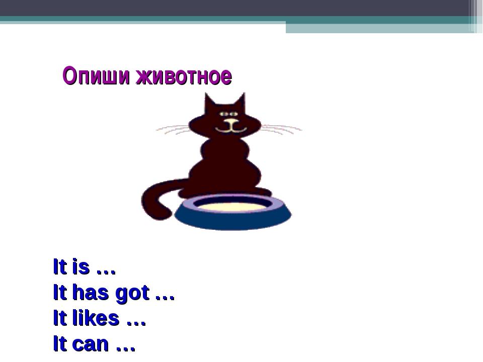 Опиши животное It is … It has got … It likes … It can …