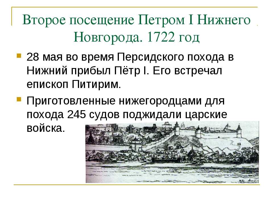 Второе посещение Петром I Нижнего Новгорода. 1722 год 28 мая во время Персидс...