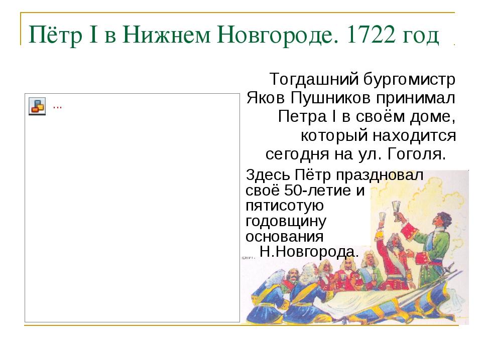 Пётр I в Нижнем Новгороде. 1722 год Тогдашний бургомистр Яков Пушников приним...