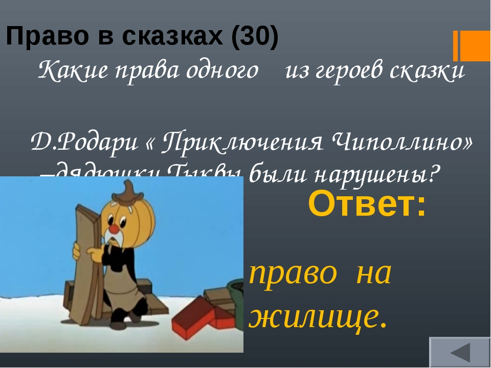 Право в сказках (30) Какие права одного из героев сказки Д.Родари « Приключен...