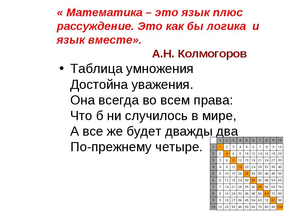 « Математика – это язык плюс рассуждение. Это как бы логика и язык вместе». А...