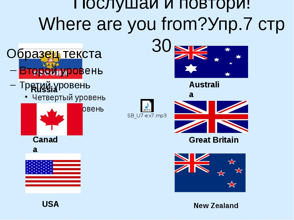 Послушай и повтори! Where are you from?Упр.7 стр 30 Russia Canada USA Austral...