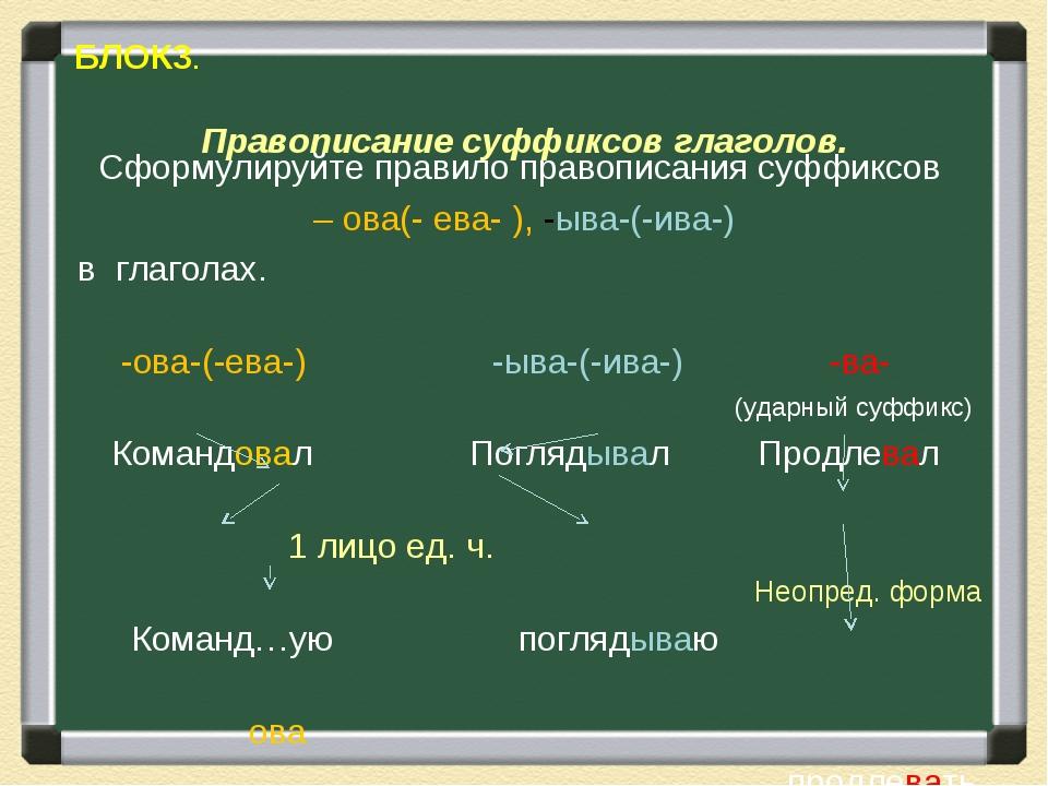 БЛОК3. Правописание суффиксов глаголов. Сформулируйте правило правописания с...