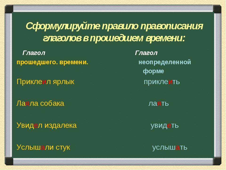 Сформулируйте правило правописания глаголов в прошедшем времени: Глагол Глаг...