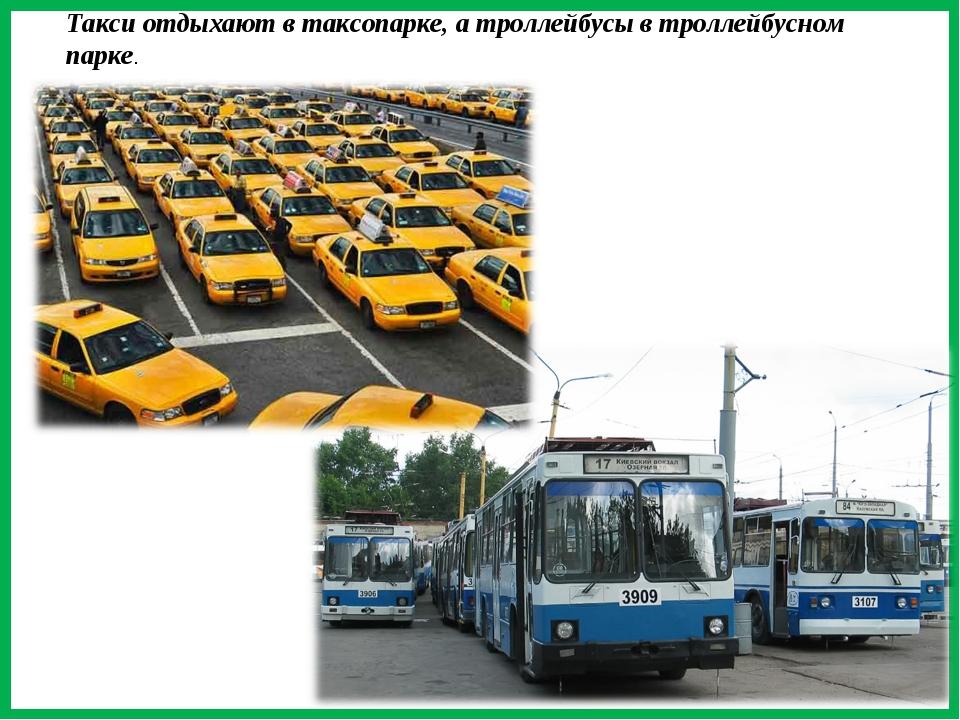 Такси отдыхают в таксопарке, а троллейбусы в троллейбусном парке.