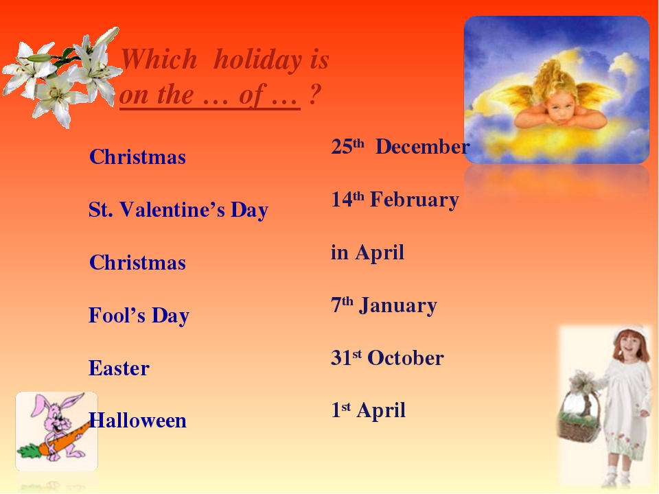Which holiday is on the … of … ? Christmas St. Valentine's Day Christmas Foo...