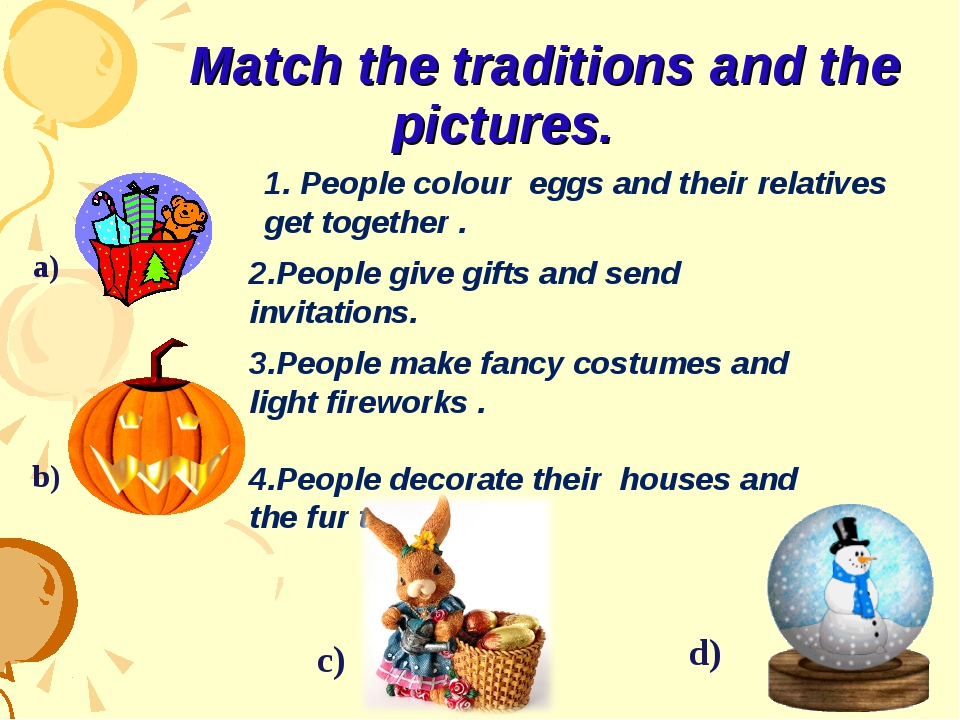 Match the traditions and the pictures. 1. People colour eggs and their relat...