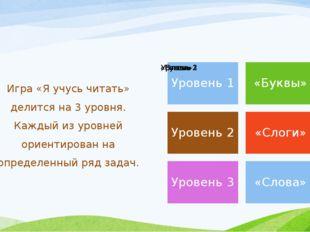 Игра «Я учусь читать» делится на 3 уровня. Каждый из уровней ориентирован на