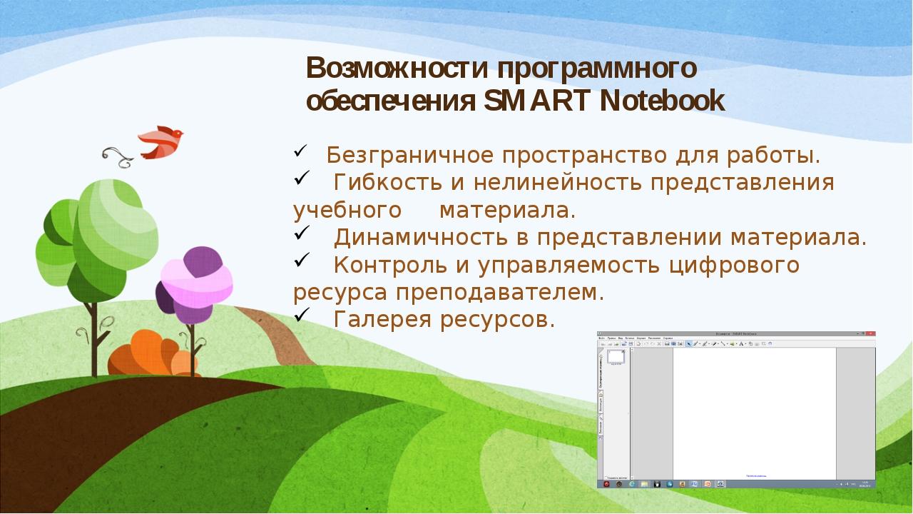 Возможности программного обеспечения SMART Notebook Безграничное пространство...