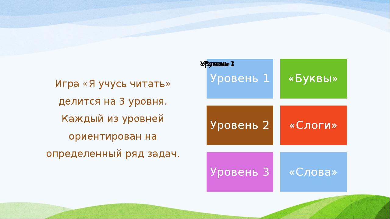 Игра «Я учусь читать» делится на 3 уровня. Каждый из уровней ориентирован на...
