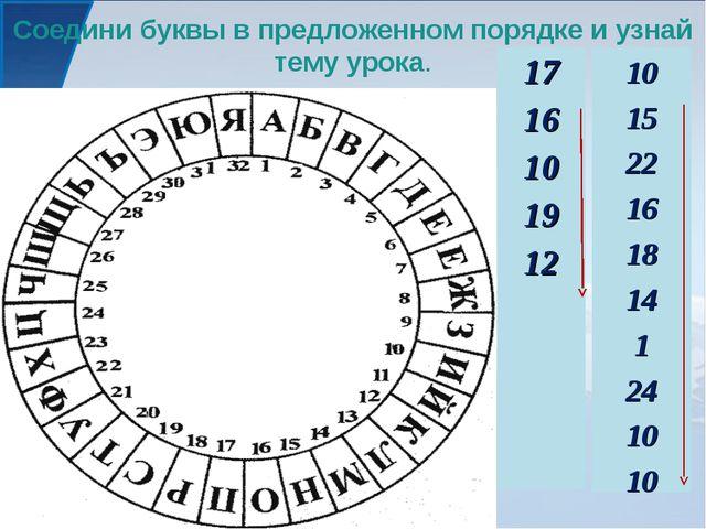 Соедини буквы в предложенном порядке и узнай тему урока. 17 16 10 19 12 10 15...