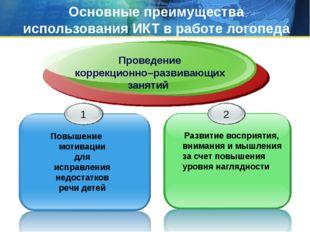 Основные преимущества использования ИКТ в работе логопеда Проведение коррекци