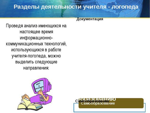 Работа по самообразованию Разделы деятельности учителя - логопеда Проведя ана...