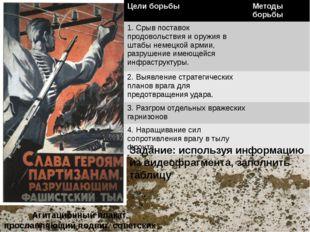 Агитационный плакат, прославляющий подвиг советских партизан Задание: использ