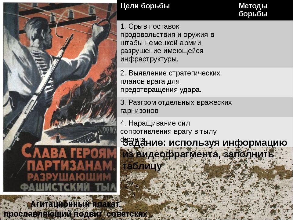 Агитационный плакат, прославляющий подвиг советских партизан Задание: использ...