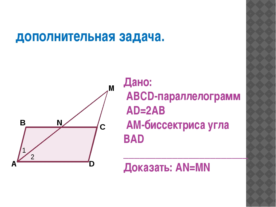 дополнительная задача. Дано: ABCD-параллелограмм AD=2AB AM-биссектриса угла B...