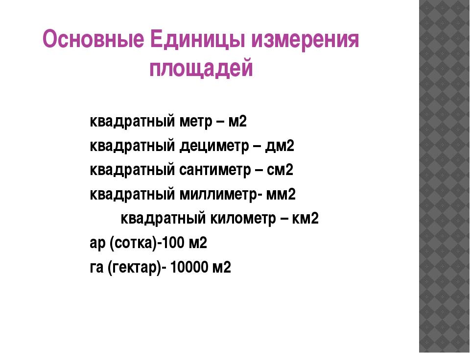 Основные Единицы измерения площадей квадратный метр – м2 квадратный дециметр...