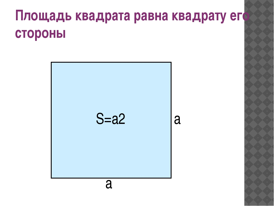 Площадь квадрата равна квадрату его стороны а а S=а2
