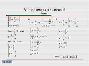 Метод замены переменной Пример 1