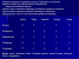 Победитель олимпиады по информатике учит Ирену и Тимура работе на компьютере;