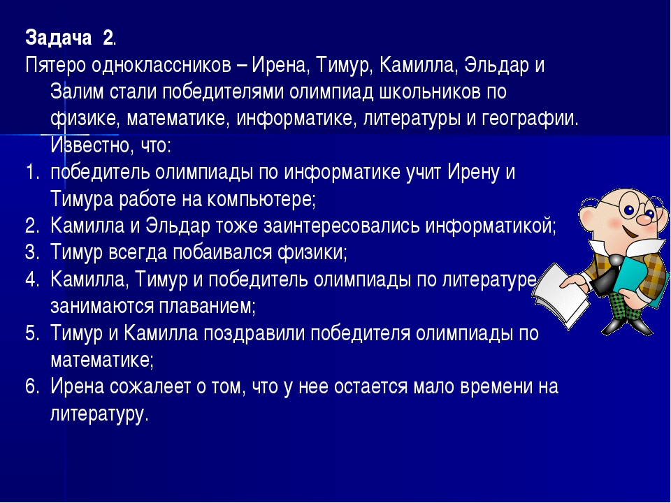 Задача 2. Пятеро одноклассников – Ирена, Тимур, Камилла, Эльдар и Залим стали...