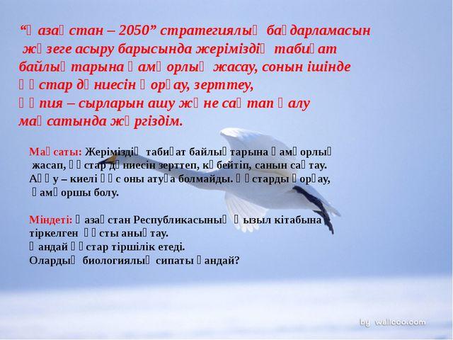 """""""Қазақстан – 2050"""" стратегиялық бағдарламасын жүзеге асыру барысында жерімізд..."""