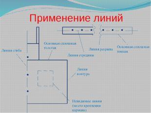 Применение линий Основная сплошная тонкая Линия контура Основная сплошная тол